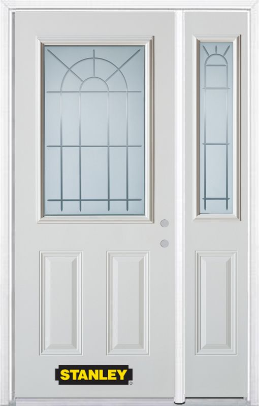 Stanley Doors 48.25 inch x 82.375 inch Chablis 1/2 Lite 2-Panel Prefinished White Left-Hand Inswing Steel Prehung Front Door with Sidelite and Brickmould