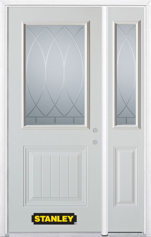 Stanley Doors 50.25 inch x 82.375 inch Bourgogne 1/2 Lite 1-Panel Prefinished White Left-Hand Inswing Steel Prehung Front Door with Sidelite and Brickmould
