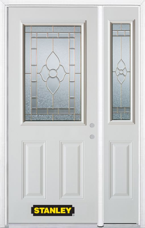 Stanley Doors 48.25 inch x 82.375 inch Marguerite Brass 1/2 Lite 2-Panel Prefinished White Left-Hand Inswing Steel Prehung Front Door with Sidelite and Brickmould