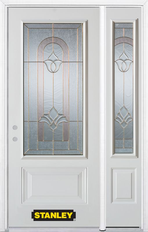 Stanley Doors 52.75 inch x 82.375 inch Marilyn Brass 3/4 Lite 1-Panel Prefinished White Right-Hand Inswing Steel Prehung Front Door with Sidelite and Brickmould
