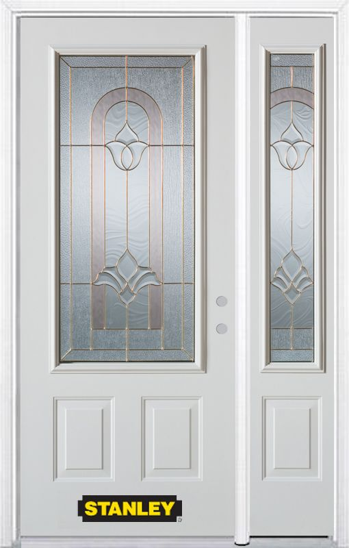 Stanley Doors 48.25 inch x 82.375 inch Marilyn Brass 3/4 Lite 2-Panel Prefinished White Left-Hand Inswing Steel Prehung Front Door with Sidelite and Brickmould