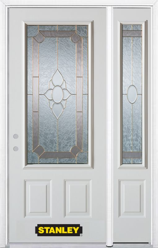 Stanley Doors 50.25 inch x 82.375 inch Rochelle Brass 3/4 Lite 2-Panel Prefinished White Right-Hand Inswing Steel Prehung Front Door with Sidelite and Brickmould