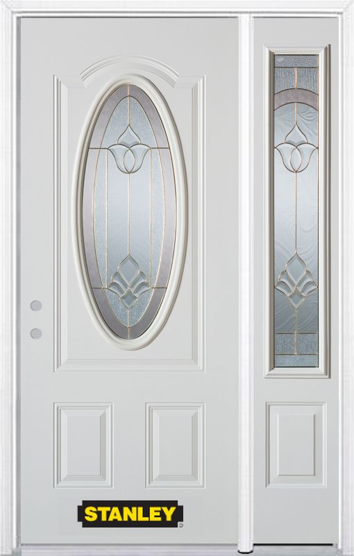 Stanley Doors 52.75 inch x 82.375 inch Marilyn Brass 3/4 Oval Lite 2-Panel Prefinished White Right-Hand Inswing Steel Prehung Front Door with Sidelite and Brickmould