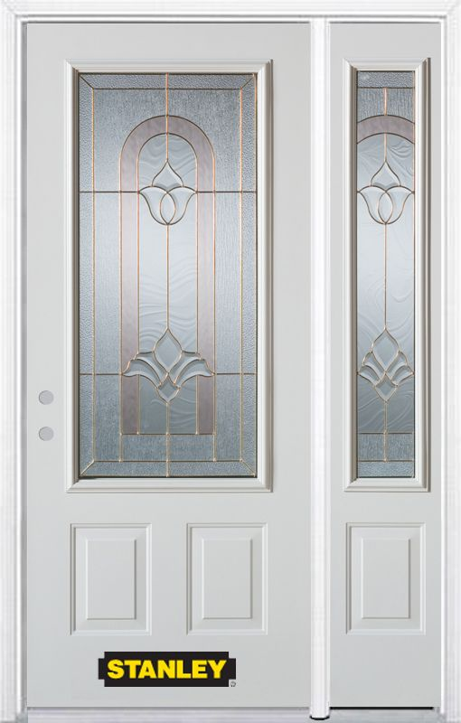 48-inch x 82-inch Marilyn 3/4-Lite 2-Panel White Steel Entry Door with Sidelite and Brickmould