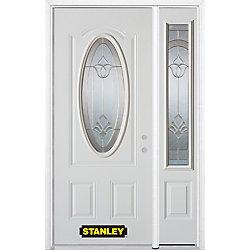Stanley Doors Porte dentrée en acier préfini en blanc, munie dun 3/4 verre ovale, 49 po x 82 po avec panneaux latéraux et moulure de brique