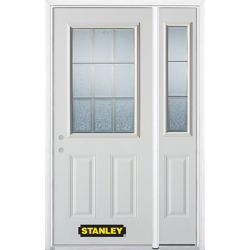 Stanley Doors 48.25 inch x 82.375 inch Diana Brass 1/2 Lite 2-Panel Prefinished White Right-Hand Inswing Steel Prehung Front Door with Sidelite and Brickmould - ENERGY STAR®