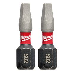 Milwaukee Tool #2 Square Recess Shockwave 1-inch Insert Bits (2-Pack)
