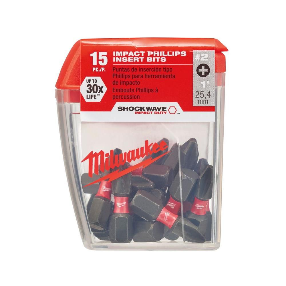 SHOCKWAVE Insert Bit Phillips #2 15PC Contractor Pack 48-32-5003 in Canada