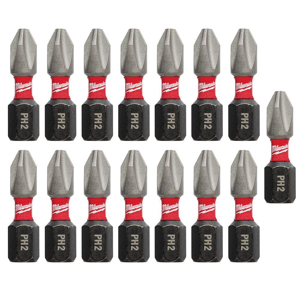 Milwaukee Tool #2 Phillips 15-Piece Shockwave Insert Bit Contractor Pack