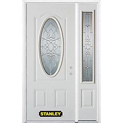 Stanley Doors Porte dentrée en acier préfini en blanc, munie dun 3/4 verre ovale, 49 po x 82 po avec panneaux latéraux et moulure de brique - ENERGY STAR®
