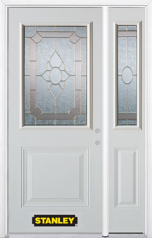 Stanley Doors 48.25 inch x 82.375 inch Rochelle Brass 1/2 Lite 1-Panel Prefinished White Left-Hand Inswing Steel Prehung Front Door with Sidelite and Brickmould
