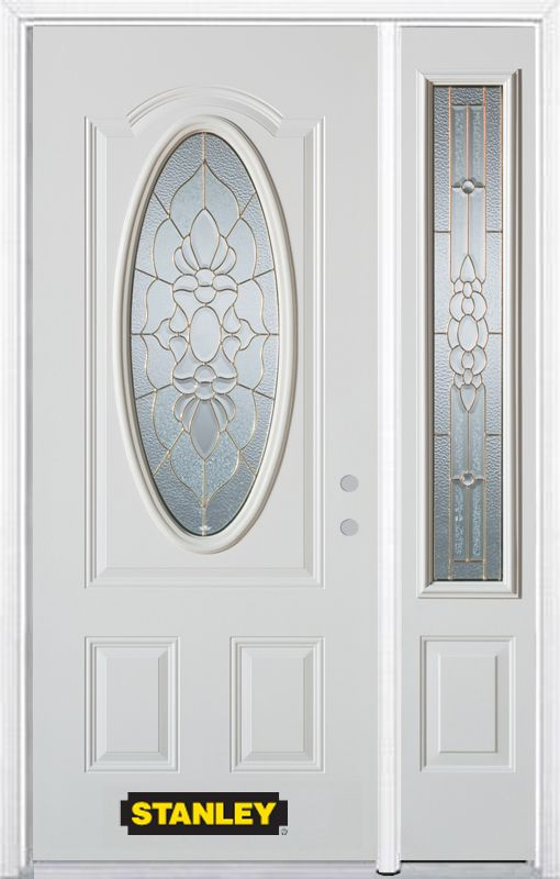 Porte dentrée en acier préfini en blanc, munie dun 3/4 verre ovale, 51 po x 82 po avec panneaux l...