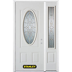 Stanley Doors Porte dentrée en acier préfini en blanc, munie dun 3/4 verre ovale, 51 po x 82 po avec panneaux latéraux et moulure de brique