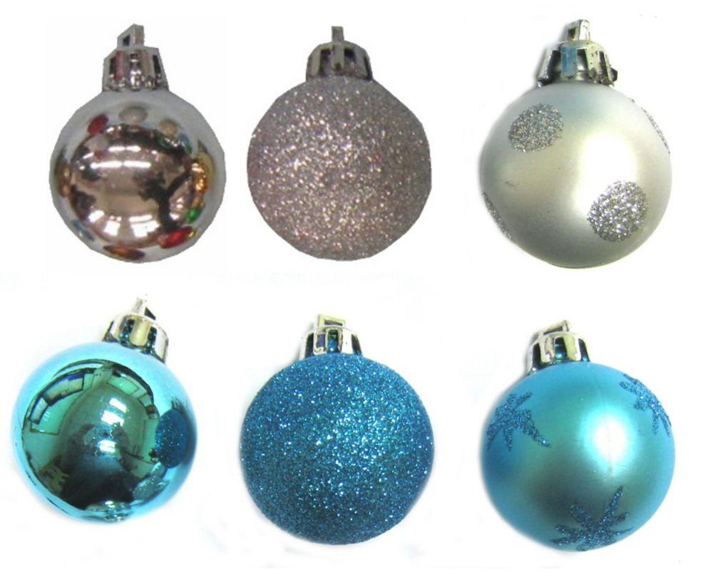 Mini Ornament 10 Pack x 35 mm-Silver/Blue