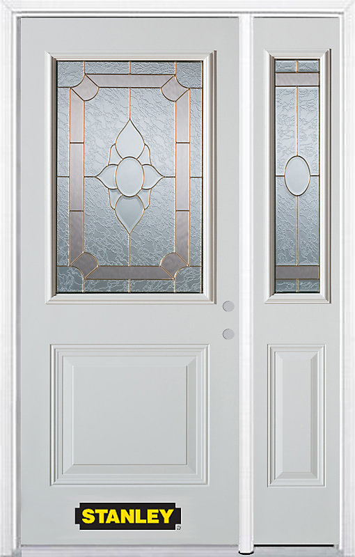 50.25 inch x 82.375 inch Rochelle Brass 1/2 Lite 1-Panel Prefinished White Left-Hand Inswing Steel Prehung Front Door with Sidelite and Brickmould