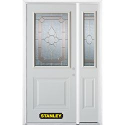 Stanley Doors 50.25 inch x 82.375 inch Rochelle Brass 1/2 Lite 1-Panel Prefinished White Left-Hand Inswing Steel Prehung Front Door with Sidelite and Brickmould
