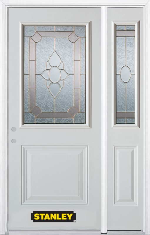 52-inch x 82-inch Rochelle 1/2-Lite 1-Panel White Steel Entry Door with Sidelite and Brickmould