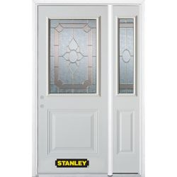 Stanley Doors 52.75 inch x 82.375 inch Rochelle Brass 1/2 Lite 1-Panel Prefinished White Right-Hand Inswing Steel Prehung Front Door with Sidelite and Brickmould