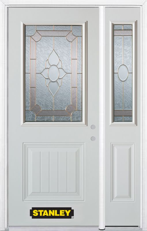 48-inch x 82-inch Rochelle 1/2-Lite 1-Panel White Steel Entry Door with Sidelite and Brickmould