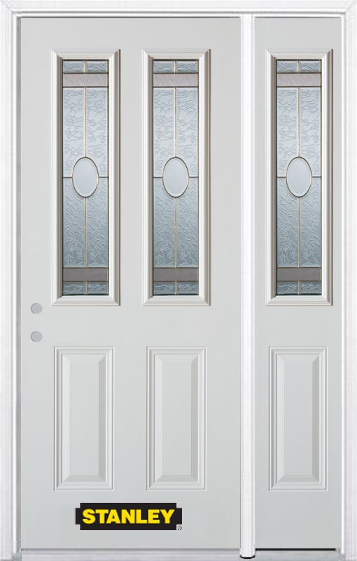 Stanley Doors 48.25 inch x 82.375 inch Rochelle Brass 2-Lite 2-Panel Prefinished White Right-Hand Inswing Steel Prehung Front Door with Sidelite and Brickmould