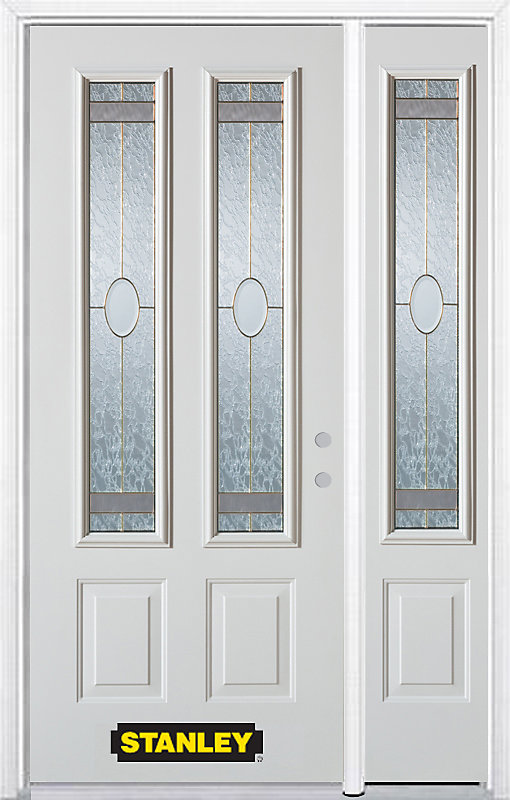 50.25 inch x 82.375 inch Rochelle Brass 2-Lite 2-Panel Prefinished White Left-Hand Inswing Steel Prehung Front Door with Sidelite and Brickmould