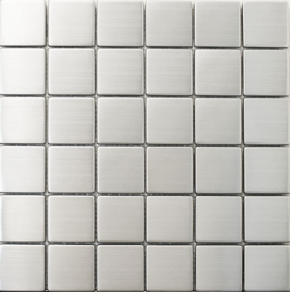 2x2 Inch Stainless Steel Metal Mosaic Wall Tile (1 sq.ft./sheet)
