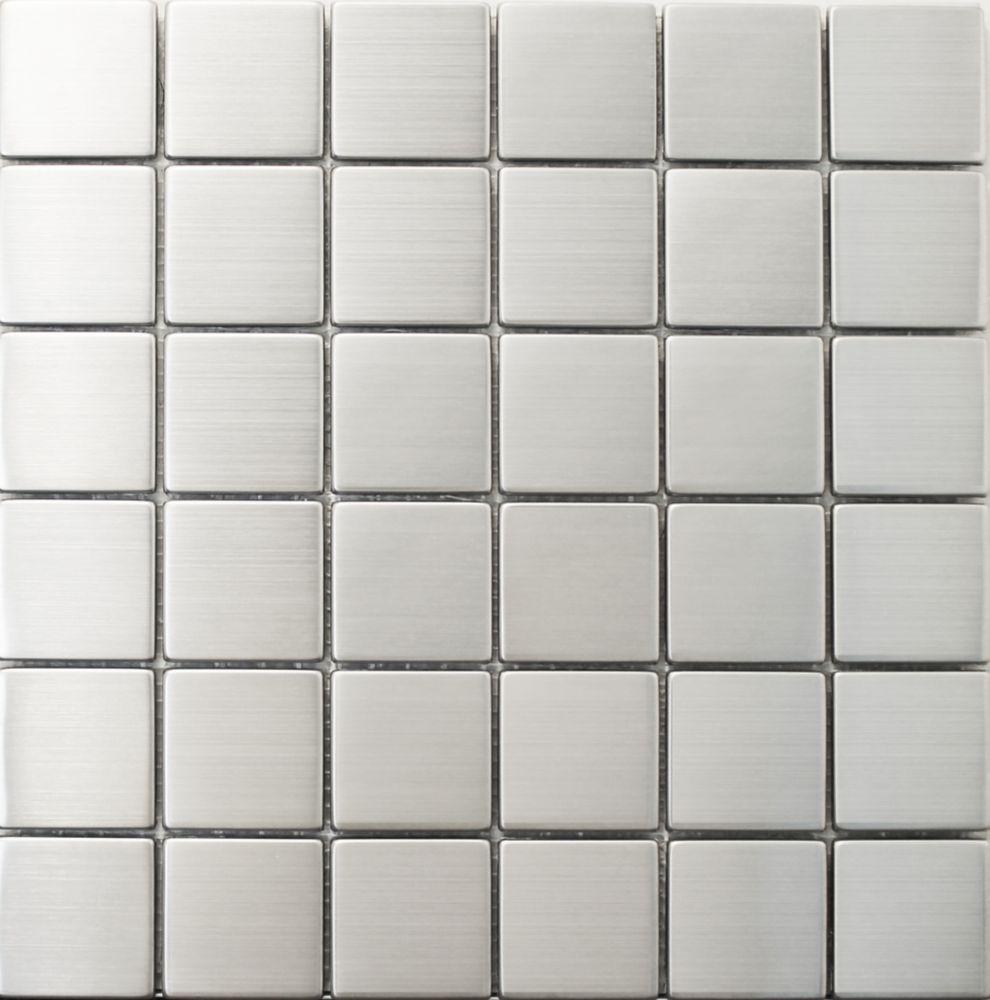 Carreau mural en mosaïque d'acier inoxydable et de métal 5,08 cm x 5,08 cm (2x2po)