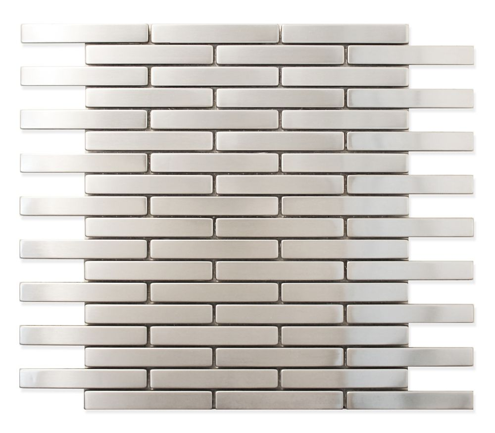 5/8x4 Stainless Steel Metal Mosaic Wall Tile
