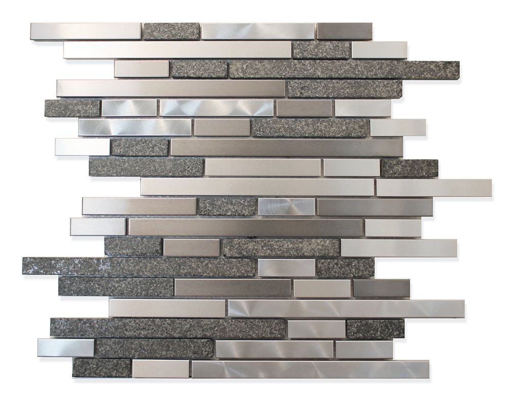 Stainless Steel Metal And Stone Linear Mosaic Wall Tile