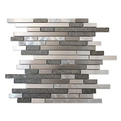 Modamo Stainless Steel Metal And Stone Linear Mosaic Wall Tile