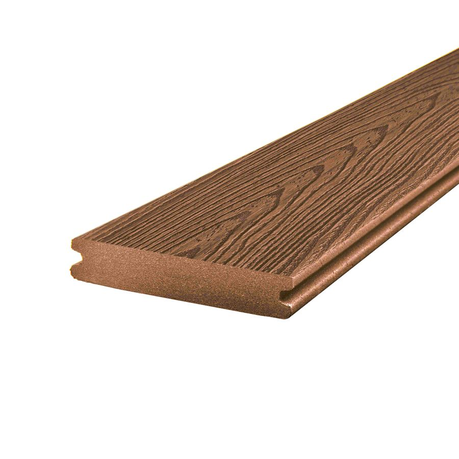 Trex 12 ft enhance composite capped grooved decking for Capped composite decking