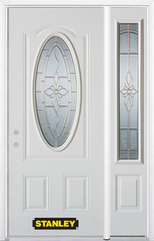 Stanley Doors 48.25 inch x 82.375 inch Trellis Brass 3/4 Oval Lite 2-Panel Prefinished White Right-Hand Inswing Steel Prehung Front Door with Sidelite and Brickmould