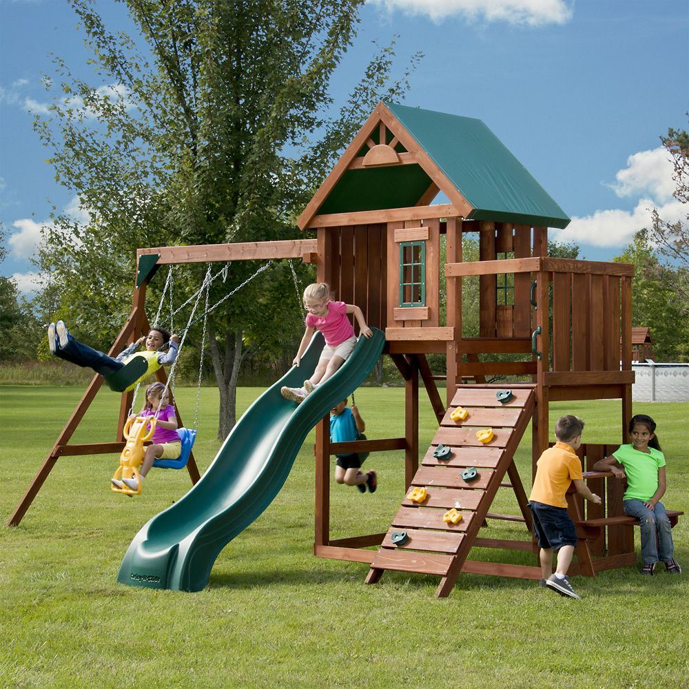 Knightsbridge wood complete playground set plastic