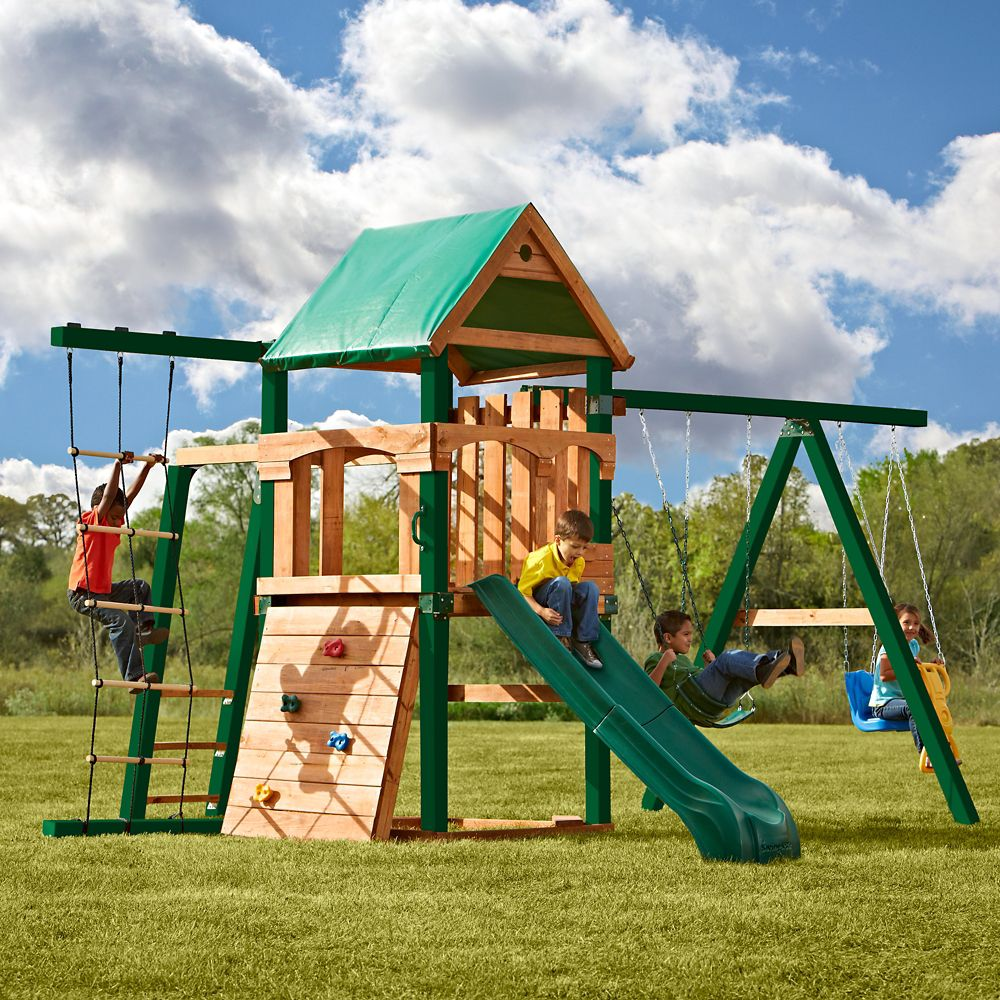 Bighorn Ready-to-Assemble Playset w/ Tuff Wood and Summit Slide