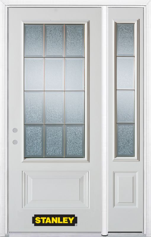Stanley Doors 52.75 inch x 82.375 inch Diana Brass 3/4 Lite 1-Panel Prefinished White Right-Hand Inswing Steel Prehung Front Door with Sidelite and Brickmould - ENERGY STAR®