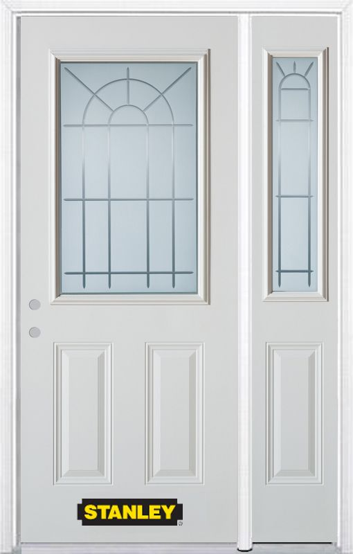Porte dentrée en acier préfini en blanc, munie de deux panneaux et dun 1/2 verre, 51 po x 82 po a...