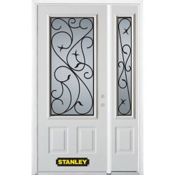 Stanley Doors 52.75 inch x 82.375 inch Borduas 3/4 Lite 2-Panel Prefinished White Left-Hand Inswing Steel Prehung Front Door with Sidelite and Brickmould