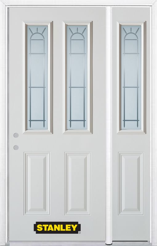 Stanley Doors 50.25 inch x 82.375 inch Chablis 2-Lite 2-Panel Prefinished White Right-Hand Inswing Steel Prehung Front Door with Sidelite and Brickmould