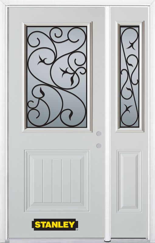 Stanley Doors 50.25 inch x 82.375 inch Borduas 1/2 Lite 1-Panel Prefinished White Left-Hand Inswing Steel Prehung Front Door with Sidelite and Brickmould