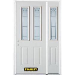 STANLEY Doors Porte dentrée en acier préfini en blanc, munie de deux panneaux et de deux verre, 49 po x 82 po avec panneaux latéraux et moulure de brique