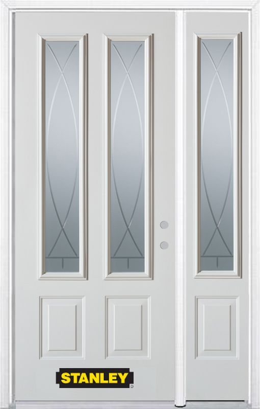 Stanley Doors 48.25 inch x 82.375 inch Bourgogne 2-Lite 2-Panel Prefinished White Left-Hand Inswing Steel Prehung Front Door with Sidelite and Brickmould