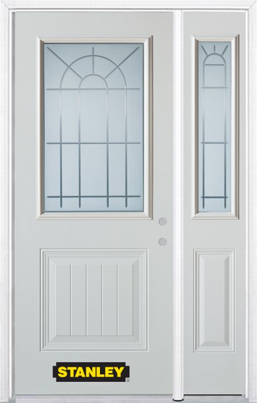52-inch x 82-inch Chablis 1/2-Lite 1-Panel White Steel Entry Door with Sidelite and Brickmould