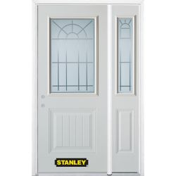 Stanley Doors Porte dentrée en acier préfini en blanc, munie d'un panneau et dun 1/2 verre, 53 po x 82 po avec panneaux latéraux et moulure de brique