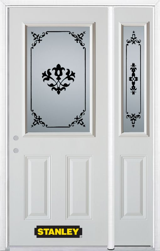 Stanley Doors 50.25 inch x 82.375 inch Renoir 1/2 Lite 2-Panel Prefinished White Right-Hand Inswing Steel Prehung Front Door with Sidelite and Brickmould