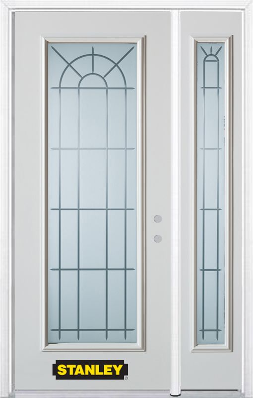 Stanley Doors 50.25 inch x 82.375 inch Chablis Full Lite Prefinished White Left-Hand Inswing Steel Prehung Front Door with Sidelite and Brickmould