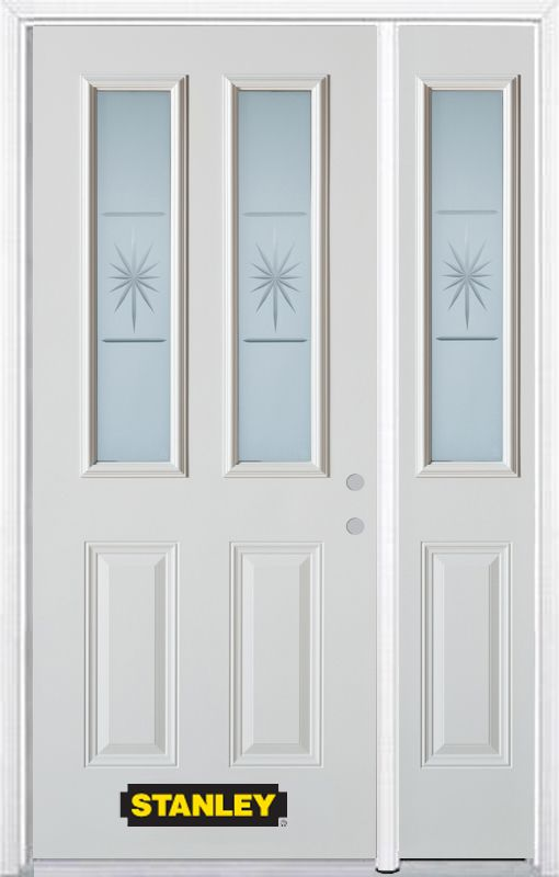 Stanley Doors 50.25 inch x 82.375 inch Beaujolais 2-Lite 2-Panel Prefinished White Left-Hand Inswing Steel Prehung Front Door with Sidelite and Brickmould