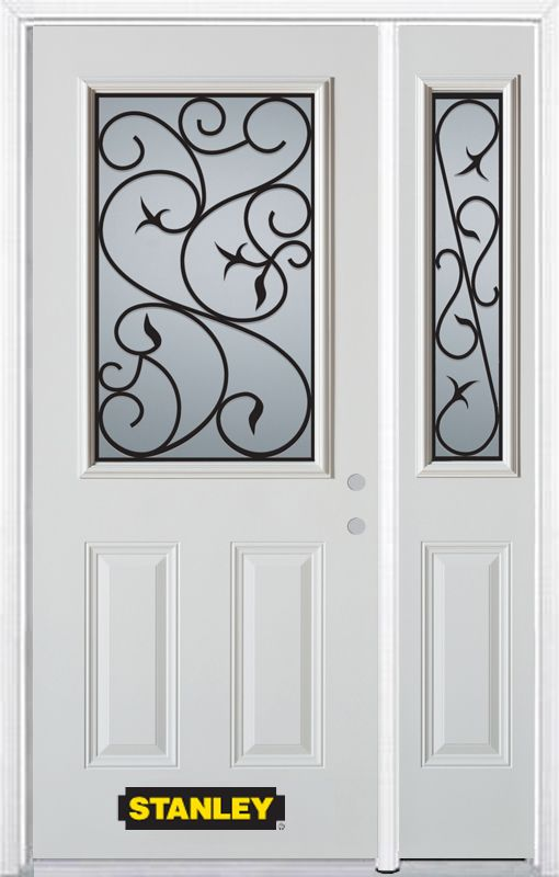 Stanley Doors 50.25 inch x 82.375 inch Borduas 1/2 Lite 2-Panel Prefinished White Left-Hand Inswing Steel Prehung Front Door with Sidelite and Brickmould