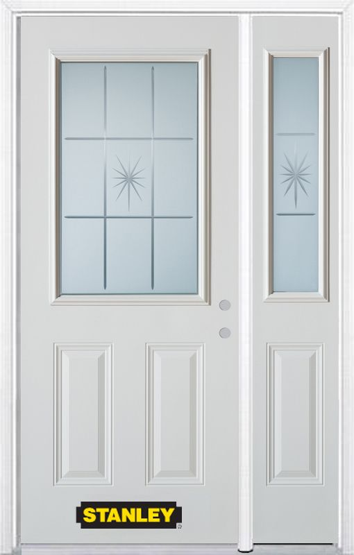 Stanley Doors 52.75 inch x 82.375 inch Beaujolais 1/2 Lite 2-Panel Prefinished White Left-Hand Inswing Steel Prehung Front Door with Sidelite and Brickmould