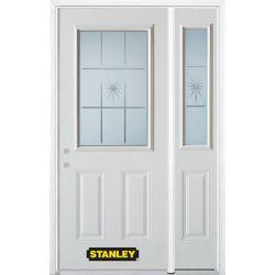 Stanley Doors Porte dentrée en acier préfini en blanc, munie de deux panneaux et dun 1/2 verre, 53 po x 82 po avec panneaux latéraux et moulure de brique