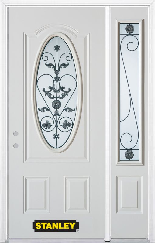 48-inch x 82-inch Blacksmith Oval 3/4-Lite White Steel Entry Door with Sidelite and Brickmould